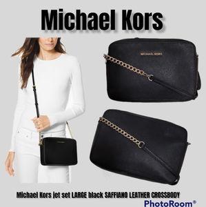 Michael Kors jet set LARGE black SAFFIANO LEATHER CROSSBODY handbag